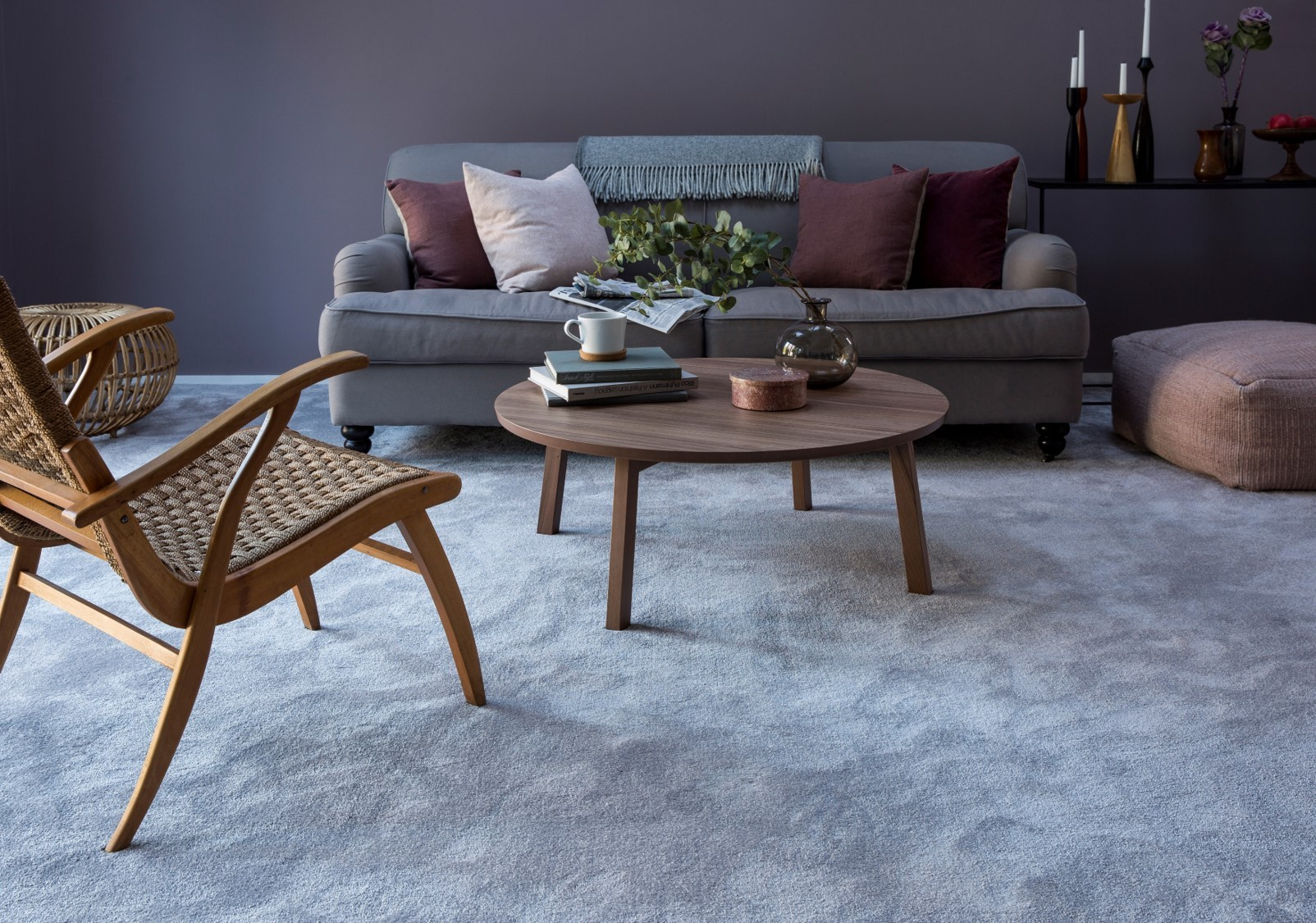 Wood and neutrals living room with a misty gray Cormar Carpet